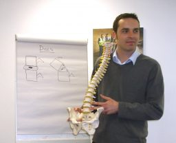 Manual Handling trainer, Laurence Jones, with spine