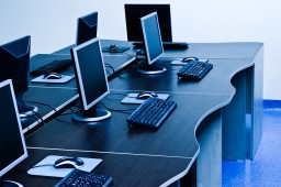 Several computers in office