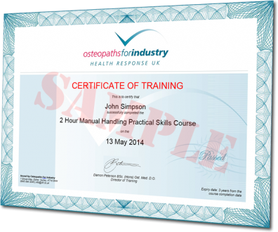 OFI sample certificate of training