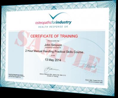 OFI sample certificate of training