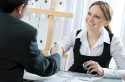 Female handshake in a meeting