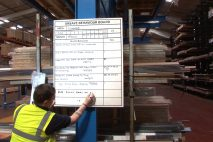 Unsafe behaviour board in warehouse